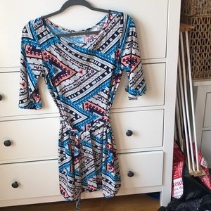 Leota high neck wrap dress